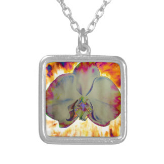Fire Orchid Silver Plated Necklace