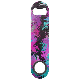 Fire Pink and Blue Stainless Steel Bottle Opener