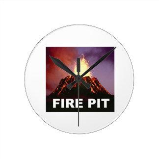 fire pit art round clock