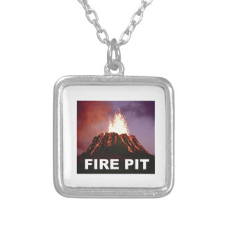 fire pit art silver plated necklace