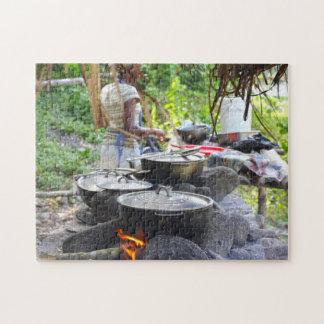 Fire Pots Jamaica Beach. Jigsaw Puzzle