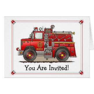 Fire Pumper Rescue Truck Party Invitation Greeting Card