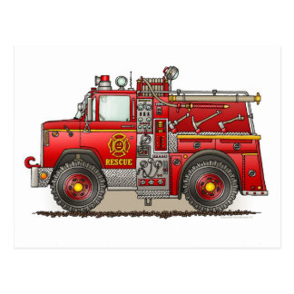 Fire Pumper Rescue Truck Post Card