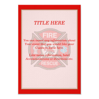 Fire-Rescue EMT Wedding Insert Card