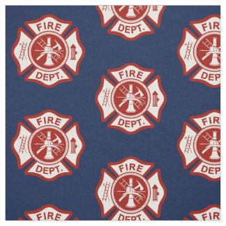 Fire Rescue Maltese Cross Symbol Navy Fabric