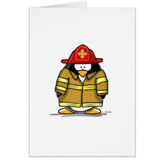 Fire Rescue Penguin Greeting Card