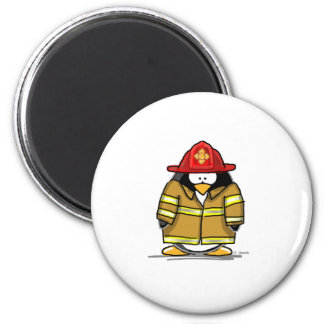 Fire Rescue Penguin 6 Cm Round Magnet