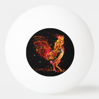 Fire rooster. Flaming animal sparkle cool design