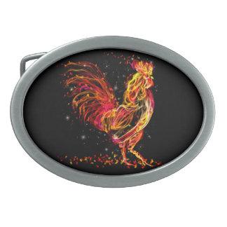 Fire rooster. Flaming animal sparkle cool design Belt Buckle