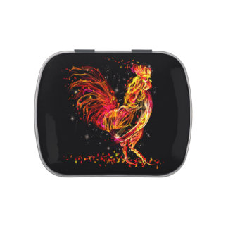 Fire rooster. Flaming animal sparkle cool design Candy Tin