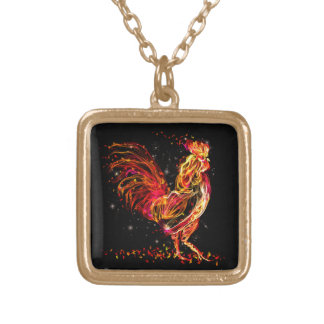 Fire rooster. Flaming animal sparkle cool design Gold Plated Necklace