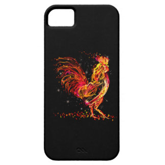 Fire rooster. Flaming animal sparkle cool design iPhone 5 Cases