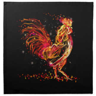 Fire rooster. Flaming animal sparkle cool design Napkin