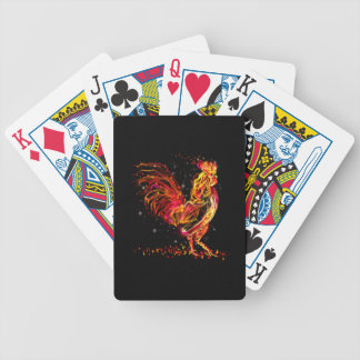 Fire rooster. Flaming animal sparkle cool design Poker Deck