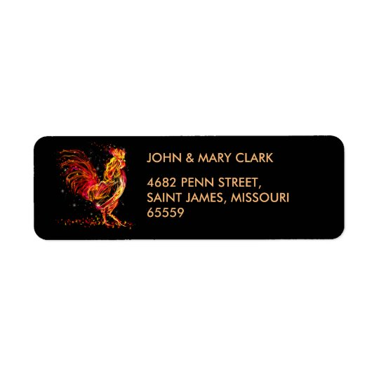 Fire rooster. Flaming animal sparkle cool design Return Address Label