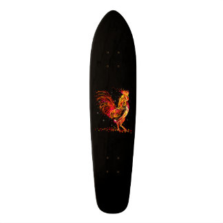 Fire rooster. Flaming animal sparkle cool design Skate Board Decks