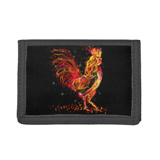 Fire rooster. Flaming animal sparkle cool design Tri-fold Wallet