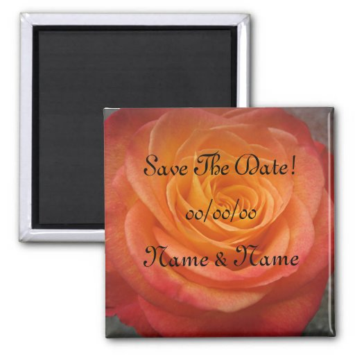 Fire Rose Save-The-Date Fridge Magnets