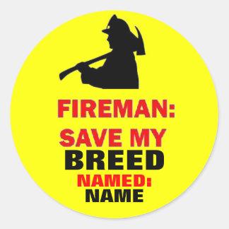 Fire Safety Custom Save My Pet Round Sticker