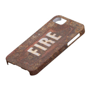 Fire sign on rusted steel plate. Gift for fireman? Barely There iPhone 5 Case