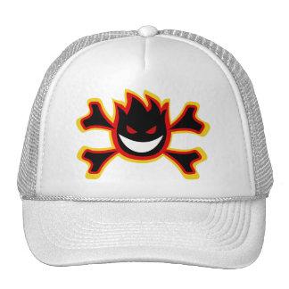 fire skull head with crossbones hats