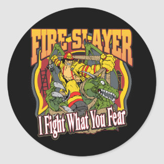 Fire Slayer Firefighter Classic Round Sticker