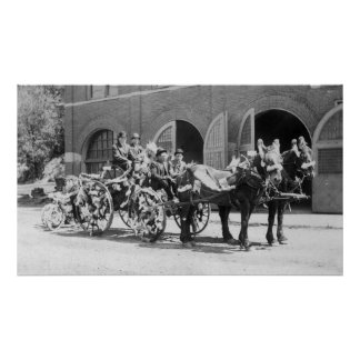 Fire Station, Fire Fighters, Fire Carriage Poster