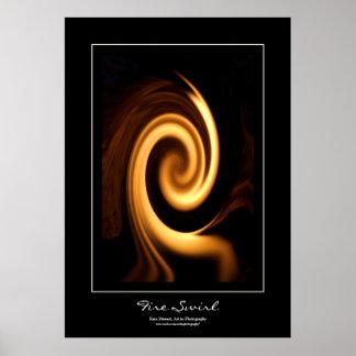 Fire Swirl Black Border Poster