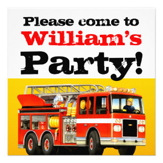 Fire Truck 2nd Birthday Party Invite