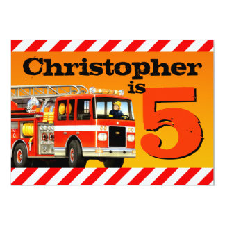Fire Truck 5th Birthday Party 13 Cm X 18 Cm Invitation Card