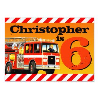 Fire Truck 6th Birthday Party 13 Cm X 18 Cm Invitation Card