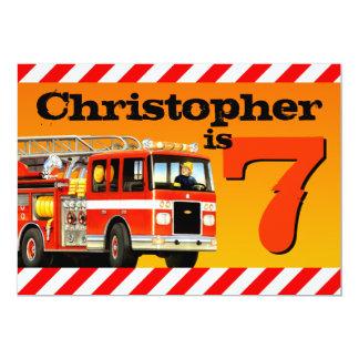 Fire Truck 7th Birthday Party 13 Cm X 18 Cm Invitation Card