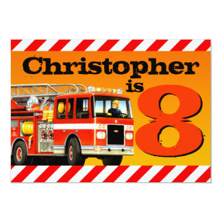 Fire Truck 8th Birthday Party 13 Cm X 18 Cm Invitation Card