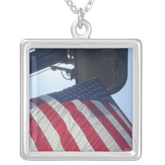 Fire Truck American Flag Aerial Tower Square Pendant Necklace