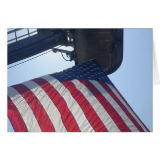 Fire Truck American Flag Aerial Tower Note Card