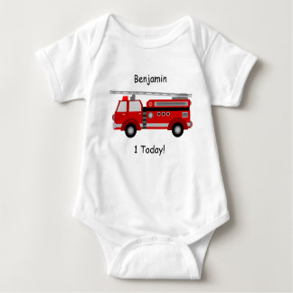 """Fire Truck Baby Vest """"1 Today"""" With Name Baby Bodysuit"""