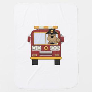 Fire Truck Bear Swaddle Blankets