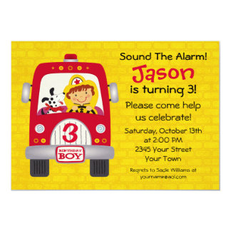 Fire Truck Birthday Boy 13 Cm X 18 Cm Invitation Card