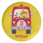 Fire Truck Birthday Boy Plate