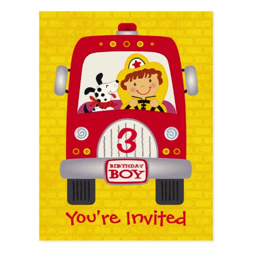 Fire Truck Birthday Boy Postcards