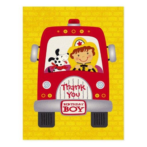 Fire Truck Birthday Boy Postcard