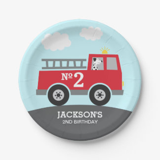 Fire Truck Birthday Paper Plate