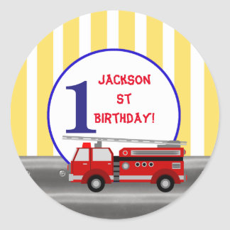 Fire truck birthday party classic round sticker