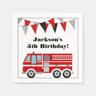 Fire Truck Birthday Party Personalized Disposable Serviettes