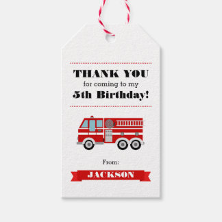 Fire Truck Birthday Party Thank You Favor Gift Tags