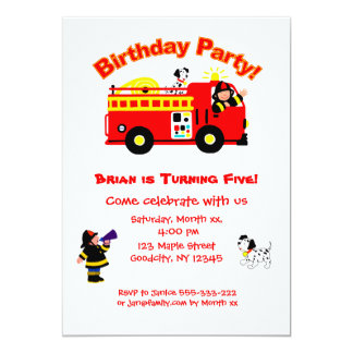 Fire Truck Children's Birthday Card