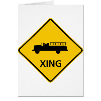 Fire Truck Crossing Highway Sign Greeting Card