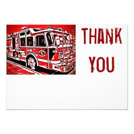 Fire Truck Engine Firefighter Flat Thank You Cards