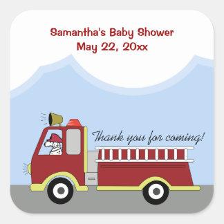Fire Truck Fire Engine SQUARE Favor Sticker