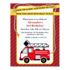 Fire Truck Firefighter Birthday Party Invitation
